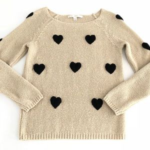 LC Lauren Conrad Tan w/Black Hearts Knit Sweater